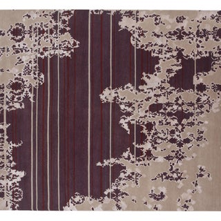 Indo-Tibetan Abstract Dark Ivory Wool Blend Rug (5'6 x 8'6)