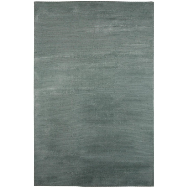 Indo-Tibetan Abstract Silver Sea-moss Wool Blend Rug (5' x 8')
