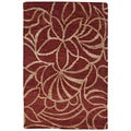 Indo-Tibetan Abstract Red Wool/ Silk Rug (2' x 3')