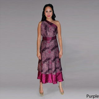 Maroon Two-Layer Wrap Dress (Indonesia)