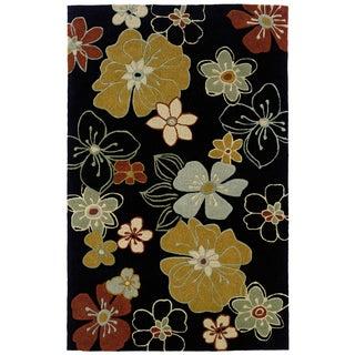 Indoor Black/ Blue Transitional Floral Area Rug