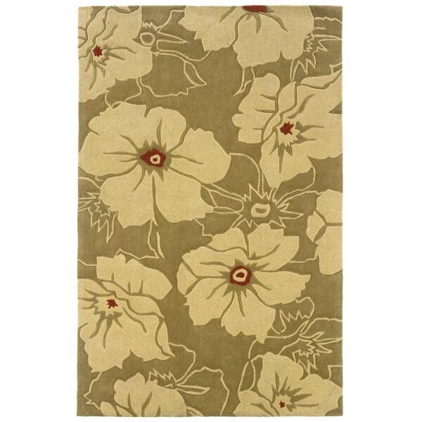 Indoor Gold/ Beige Transitional Floral Area Rug
