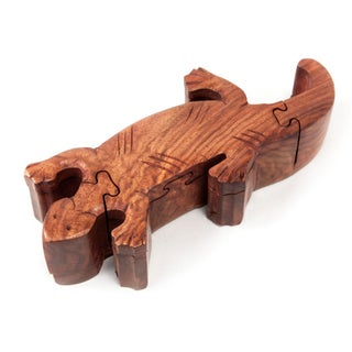 Hand-Carved Wooden Gecko Puzzle Box (India)