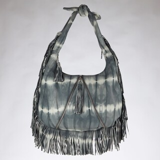 Vintage Reign Grey Tie-dye Leather Hobo Bag