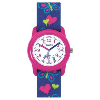 Timex Kids Analog Hearts and Butterflies Elastic Fabric Strap Watch
