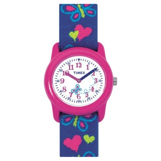 Timex Kids' Analog Hearts and Butterflies Elastic Fabric Strap Watch