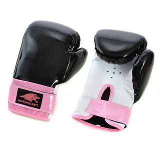 Lion Martial Arts Women's Pink/ Black 14-oz Boxing Gloves