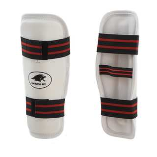 Lion Martial Arts Medium White Vinyl Shin Guard Pair