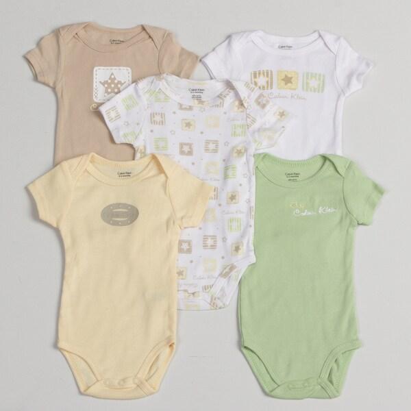 Calvin Klein Newborn Boys' Onesie (Set of 5)