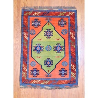 Afghan Hand-knotted Tribal Kazak Green/ Navy Wool Rug (4'2 x 5'8)