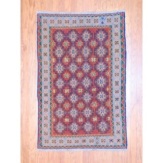 Afghan Hand-knotted Tribal Soumak Rust/ Green Wool Rug (3'9 x 5'8)