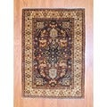 Afghan Hand-knotted Tribal Vegetable Dye Brown/ Ivory Wool Rug (4' x 6')