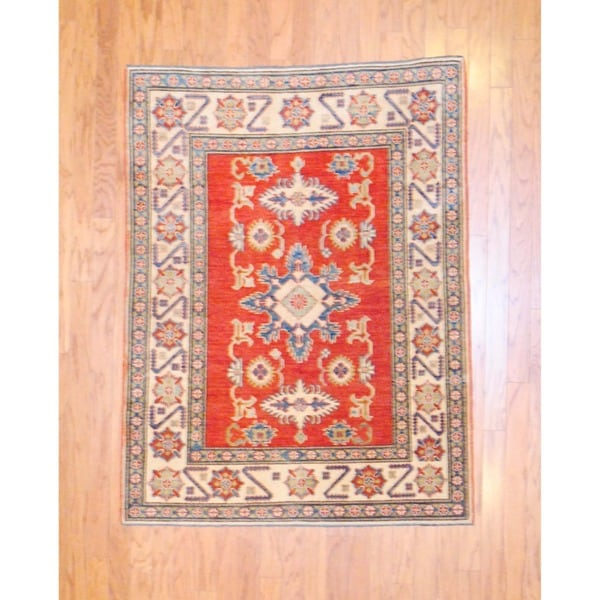 Afghan Hand-knotted Tribal Kazak Red/ Ivory Wool Rug (4'1 x 5'4)