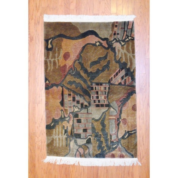 Indo Hand-knotted Tibetan Gold/ Green Wool Rug (4' x 6')