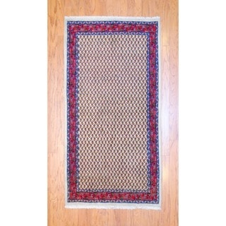Persian Hand-knotted Tribal Hamadan Ivory/ Red Wool Rug (3'6 x 6'8)