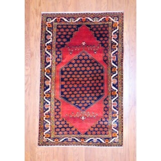 Persian Hand-knotted 1960's Tribal Hamadan Red/ Navy Wool Rug (4' x 6'2)