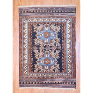 Persian Hand-knotted Tribal Kurdish Navy/ Ivory Wool Rug (4'3 x 6'4)