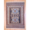Persian Hand-knotted Tribal Kurdish Navy/ Ivory Wool Rug (4&#39;3 x 6&#39;4)