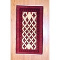 Persian Hand-knotted Tribal Balouchi Ivory/ Red Wool Rug (3'4 x 5'10)