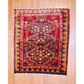 Persian Hand-knotted 1960s Tribal Hamadan Red/ Ivory Wool Rug (4'9 x 5'3)