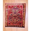 Persian Hand-knotted 1960s Tribal Hamadan Red/ Ivory Wool Rug (4&#39;9 x 5&#39;3)