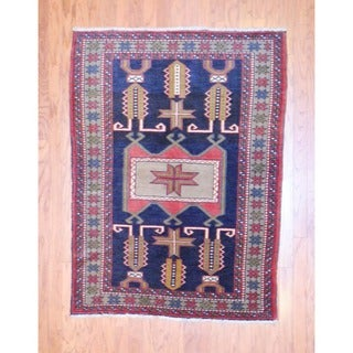 Persian Hand-knotted 1960s Tribal Hamadan Black/ Ivory Wool Rug (4' x 5'4)