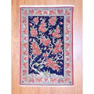 Persian Hand-knotted Qum Navy/ Peach Wool Rug (4'3 x 6')
