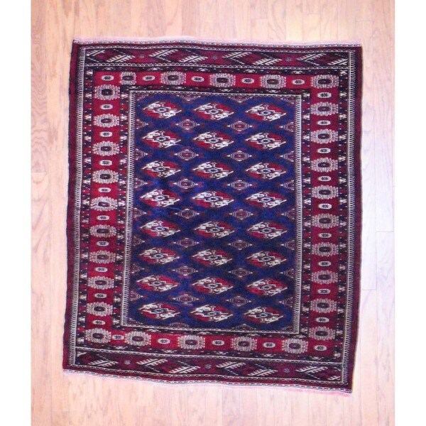 Persian Hand-knotted 1960s Turkoman Navy/ Red Wool Rug (4'4 x 5')