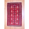 Persian Hand-knotted 1960s Balouchi Red/ Ivory Wool Rug (3'9 x 6'6)
