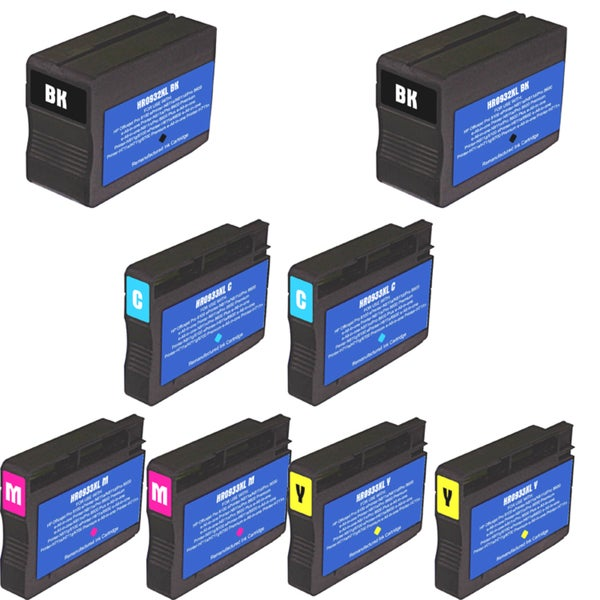 HP 932XL 933XL Black Colors Ink Cartridge Pack of 8 (Remanufactured)