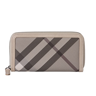 Burberry '3689975' Smoked Check Zip Around Wallet