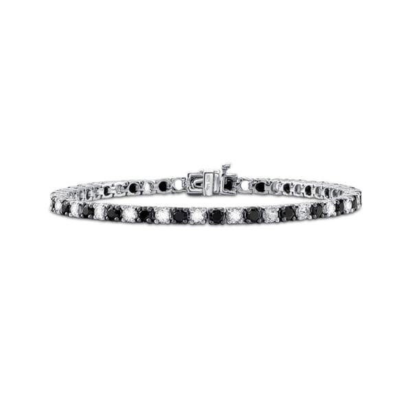 Sterling Silver Black Spinel and Crystal Tennis Bracelet