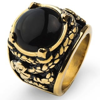 Goldplated Stainless Steel Black Onyx Dragon Claw Ring