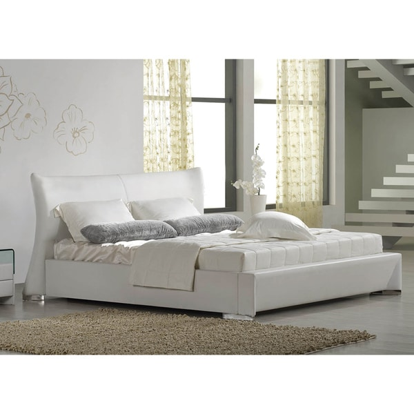 Eastern King White Bonded Leather Platform Bed Frame
