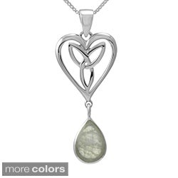 Sterling Silver Pear Cut Gemstone 'Celtic Heart' w/ 18-inch Chain (Thailand)