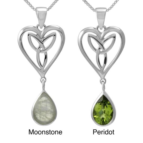 Sterling Silver Pear Cut Gemstone 'Celtic Heart' w/ 18-inch Chain (Thailand)