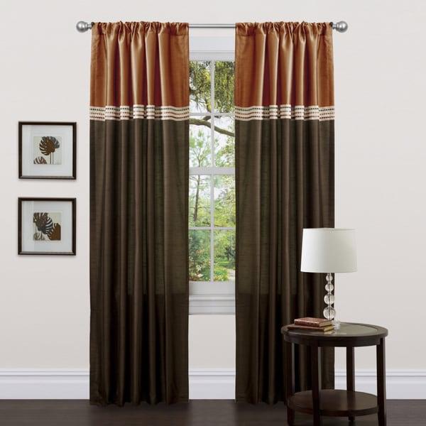 lush decor terra brown rust 84 inch curtain panels set of 2