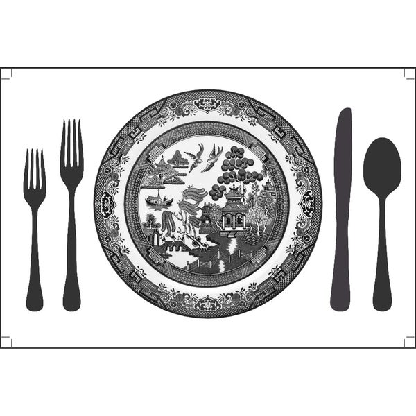 Plat Du Jour 'Willow Plate' Paper Placemats (Pack of 50)