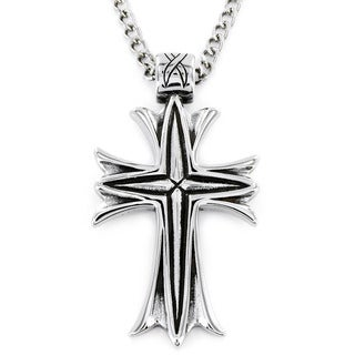 West Coast Jewelry Stainless Steel Men's Metallic Veil Cross Necklace