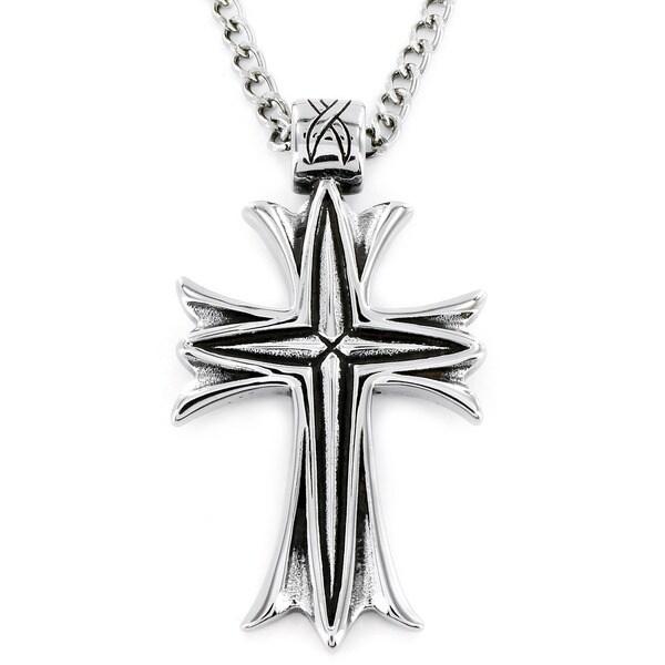 West Coast Jewelry Stainless Steel Men's Metallic Veil Cross Necklace