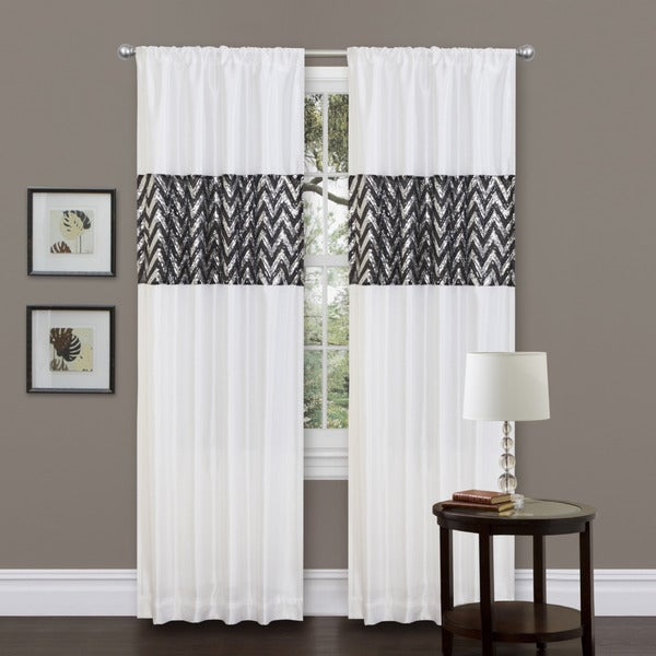 Lush Decor Shimmer White 84-inch Curtain Panel