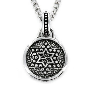 Stainless Steel Star of David Medallion Necklace