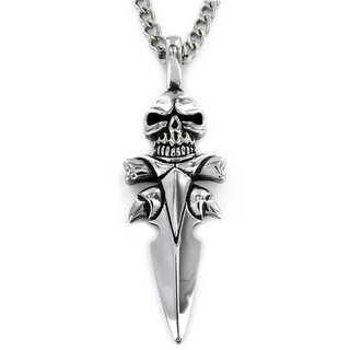 Stainless Steel Skull Spear Men's Necklace