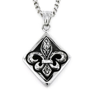 Stainless Steel Diamond Framed Royal Fleur De Lis Necklace