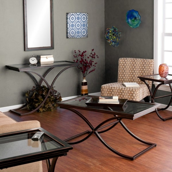 Distressed Black Table Collection with Mirror