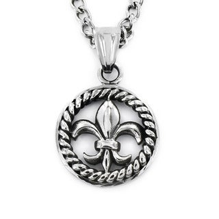Stainless Steel Rope Medallion Framed Royal Fleur De Lis Necklace