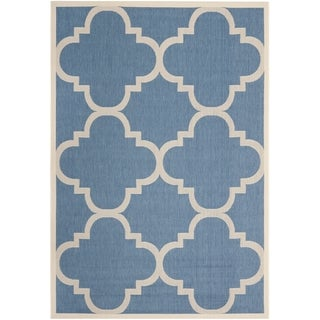 Safavieh Courtyard Blue/Beige Geometric-Print Indoor-Outdoor Rug