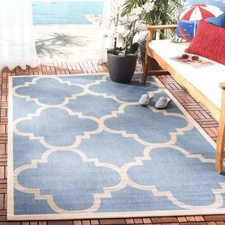 Safavieh Courtyard Blue/Beige Geometric-Print Indoor-Outdoor Rug