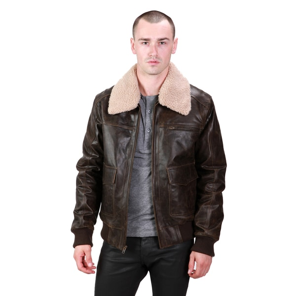 Ramonti Men's Antiqued Black Aviator Bomber Jacket