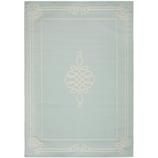Safavieh Courtyard Aqua/ Cream Indoor Outdoor Rug